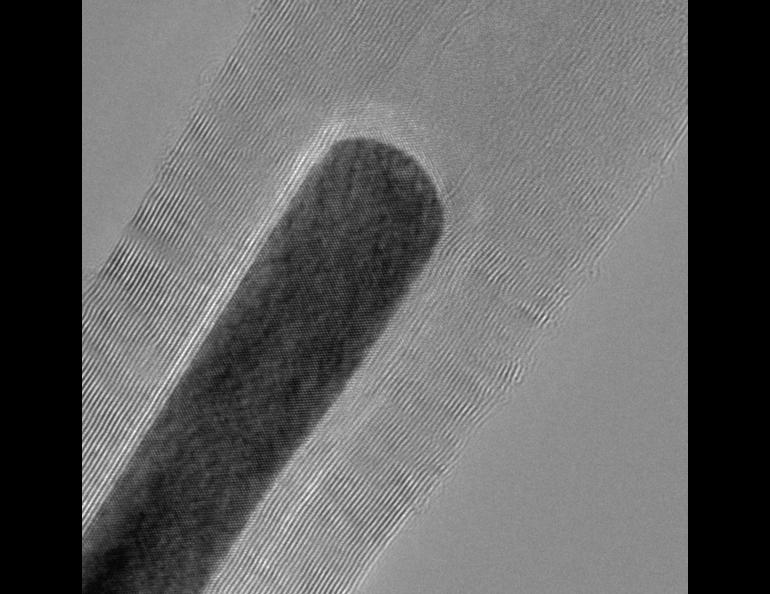 A microscopic image of a carbon nanotube with a magnetic nanoparticle inside. The properties of the tubes and nanoparticles led to a breakthrough that could lead to more storage in hard drives.