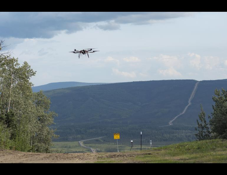 The Skyfront Perimeter UAV taking off from the Alyeska trans-Alaska pipeline right of way near Fox. UAF photo by Sean Tevebaugh