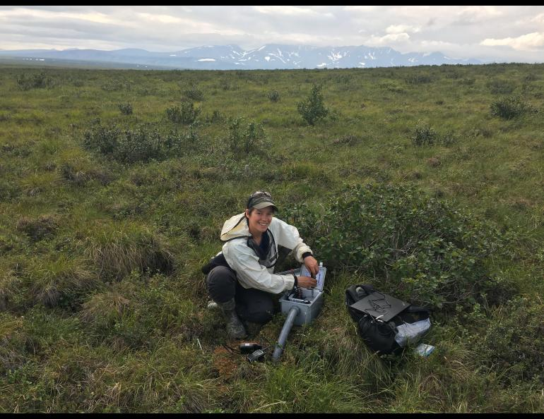 Louise Farquharson works on the tundra at Kougarok, Alaska. The site is one of 28 field locations that show evidence of extensive permafrost thawing zones previously unrecognized. This could have dramatic implications for subsequent carbon release. Photo by Vladimir Romanovsky
