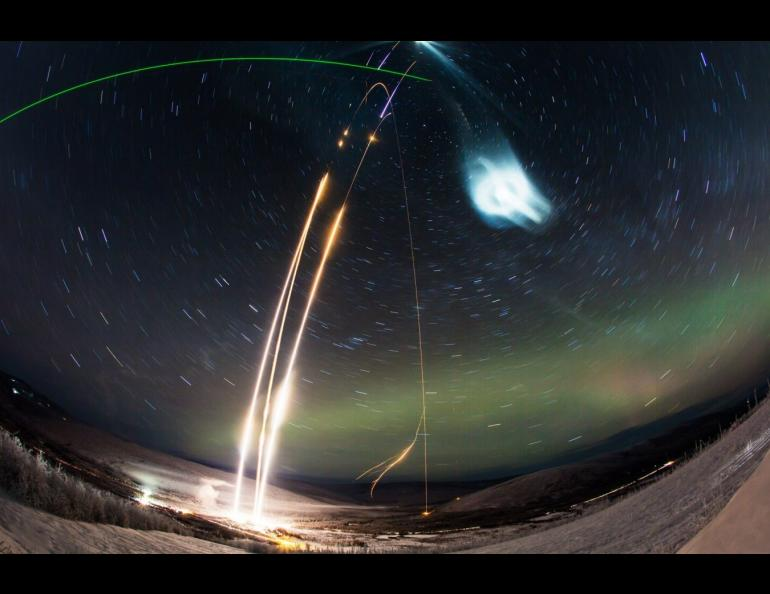 A time-lapse photograph captures the Super Soaker launches on Jan. 25-26, 2018. Photo by Zayn Roohi courtesy of NASA's Wallops Flight Facility and Poker Flat Research Range.