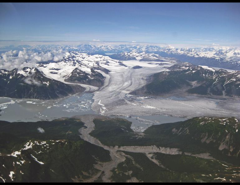 Glaciers such as the Yakutat in Southeast Alaska, shown here, have been melting since the end of the Little Ice Age, influencing earthquakes in the region. Photo by Sam Herreid.