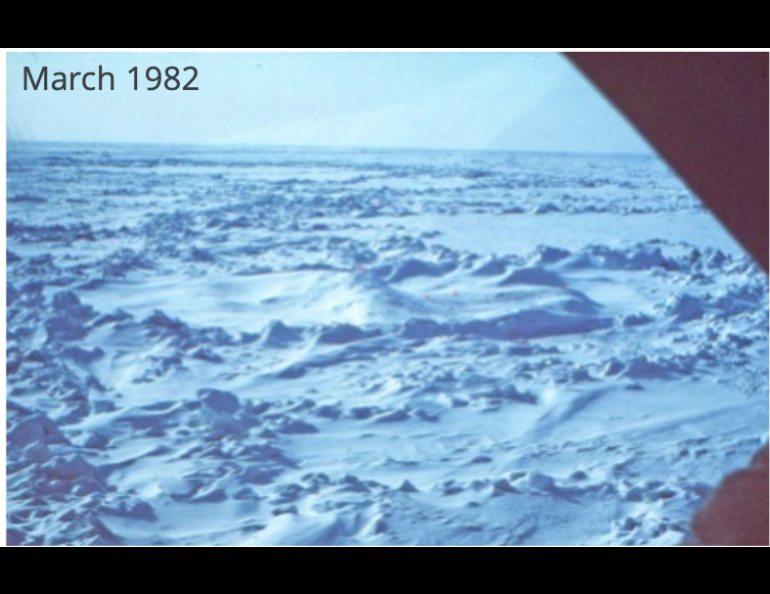 Jackie Richter-Menge took these two photographs north of Prudhoe Bay during her research trips in 1982 and 2018. Sea ice there in 1982 was in places several years old and 30 feet thick. In 2018, there was open water and new ice perhaps two feet thick. Photos by Jackie Richter-Menge.