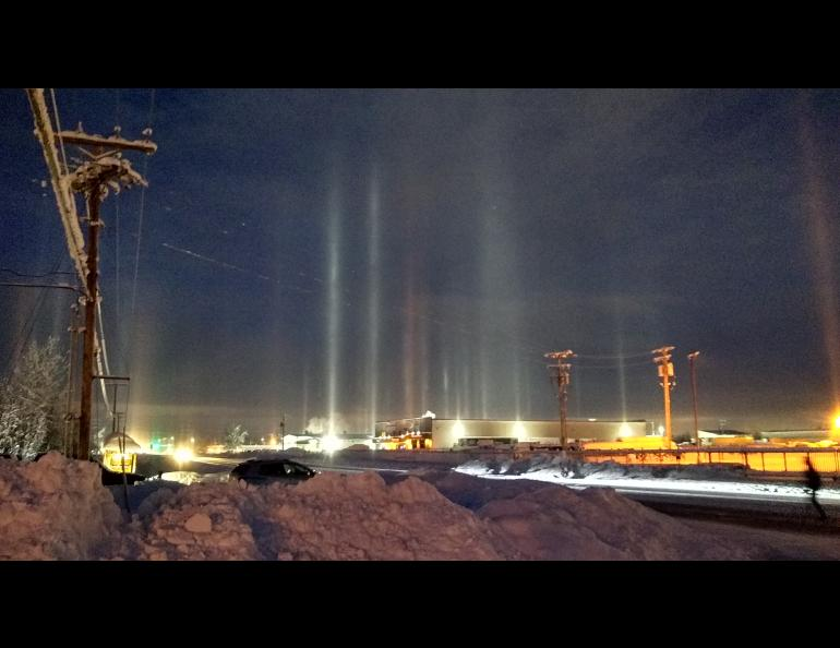 Light pillars appear when falling ice crystals reflect light off their undersides. John Shook took this photo on Feb. 7, 2020, in Fairbanks.