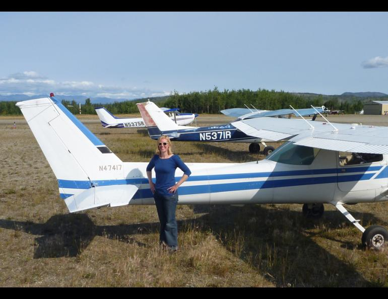 Jessica Cherry with her Cessna.