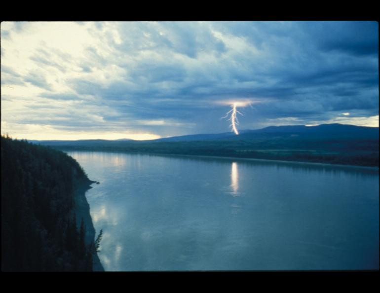 Lightning strikes somewhere in the Ray Mountains north of the Yukon River.