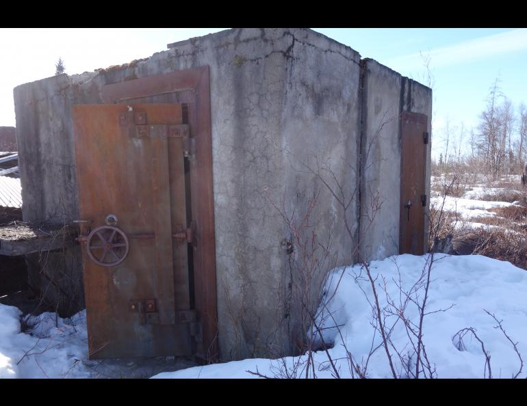 A vault with walls two feet thick that was inside an Iditarod bank. Photo by Ned Rozell.