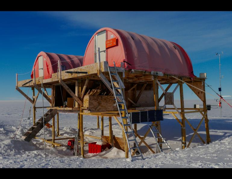 Swiss Camp on the Greenland ice sheet. Photo by Konrad Steffen.