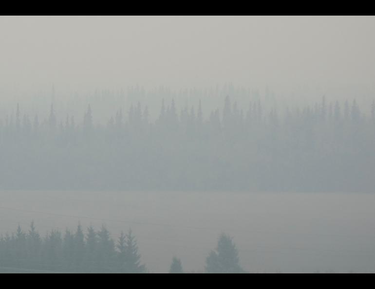 Fairbanks, shown here in July 2019, and other areas of Alaska are smokier, due to a recent increase in summer wildfires. Photo by Ned Rozell.