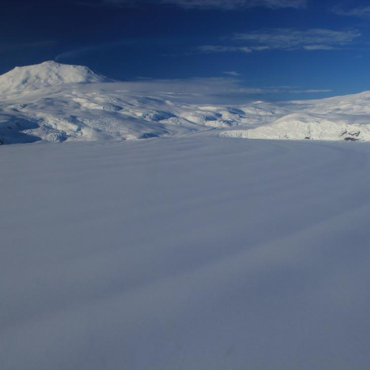 View of Erebus from the South with a clearly visible plume from the convecting lava lake. Photo by Ronni Grapenthin.