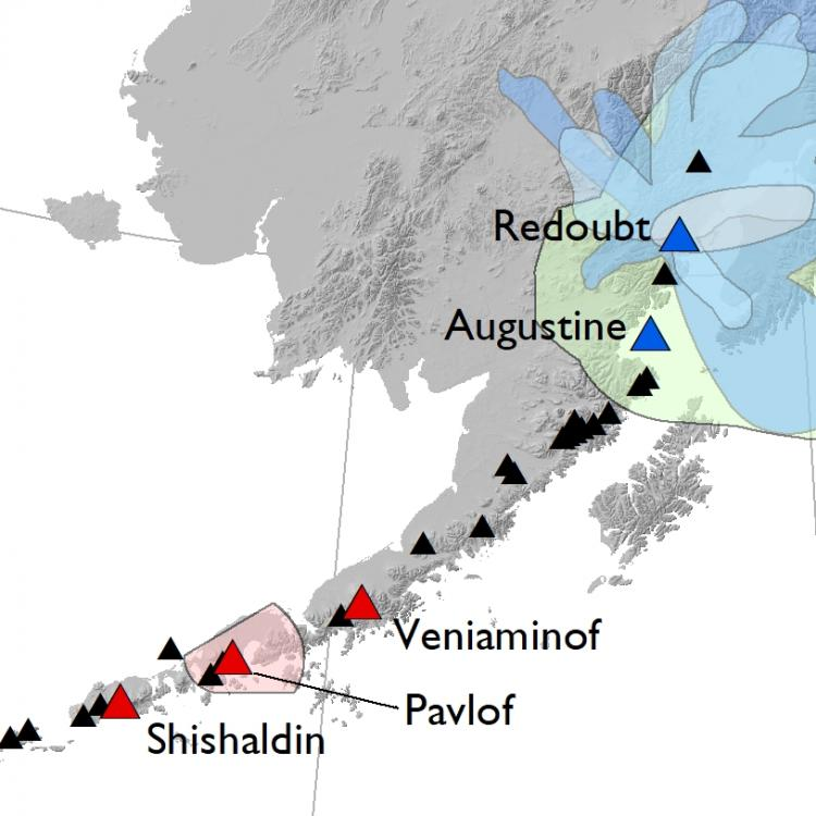Map of Alaska's historically active volcanoes (triangles) and the volcanoes targeted in this study. Open-system, frequently erupting target volcanoes shown in red, closed-system, intermittently erupting target volcanoes shown in blue. Maps illustrating published historical eruption deposits are shown as shaded regions. Data compiled from the AVO database (Mulliken et al., 2018 and references therein). Figure by Katie Mulliken.