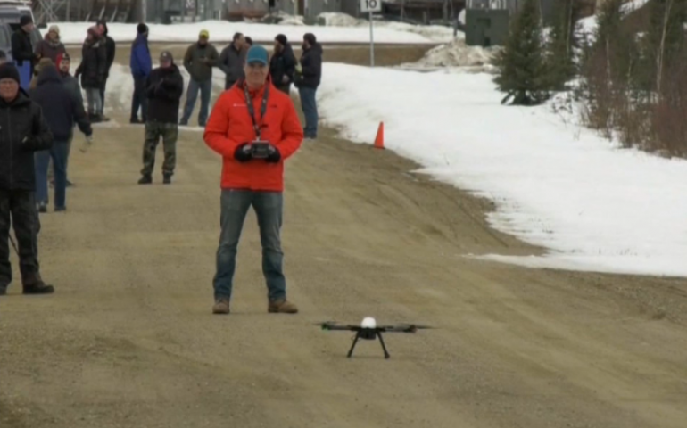 The UAF Alaska Center for Unmanned Aircraft Systems Integration and the FAA met in Fairbanks in March to test UAV capabilities. Image from Ktvf Fairbanks.