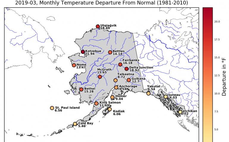 This map reports monthly mean temperature departures from normal in March 2019 across Alaska. Map by Anna Costa and Lea Hartl, Alaska Climate Research Center.