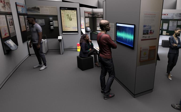 An artist's rendering of the new virtual 'ShAKe' exhibit at the UA Museum of the North. Illustration by Roger Topp.