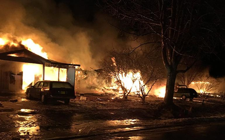 House fires caused by ruptured gas lines in Kenai following the 2016 magnitude 7.1 Iniskin earthquake. Photo courtesy Kenai Fire Department.