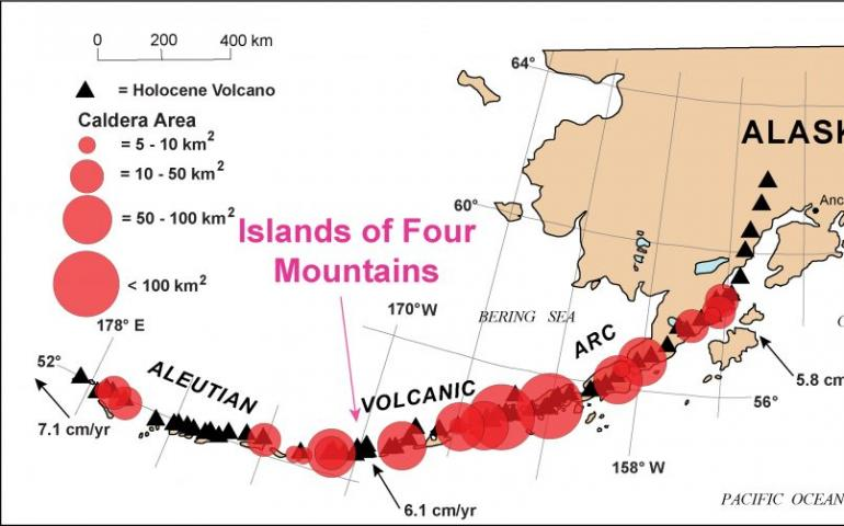 The Islands of Four Mountains lie near the center of the Aleutian Islands' arc. This map also shows the position and approximate areas of known calderas along the arc. Graphic courtesy John Power, USGS.