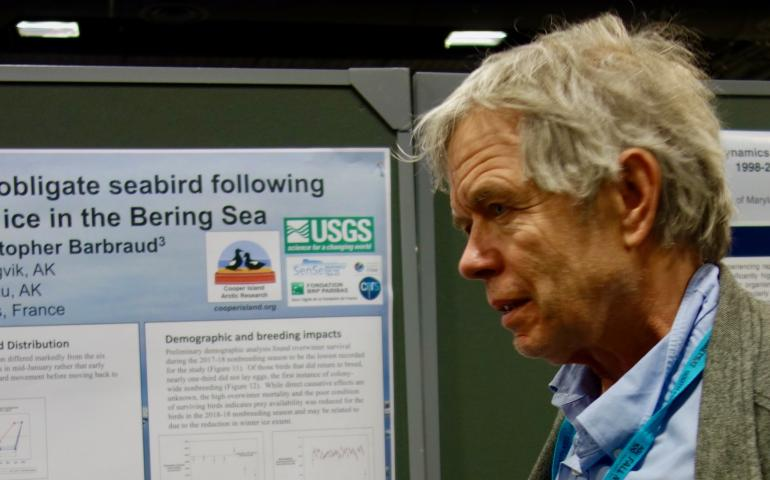 George Divoky at his poster at the Fall Meeting of the American Geophysical Union in Washington, D.C., on Dec. 13, 2018. Photo by Ned Rozell.