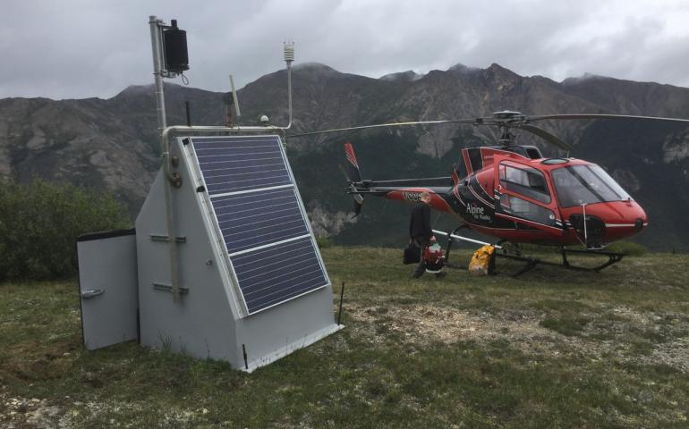 A seismic station near the John River in the Brooks Range north of Bettles during a trip in which technicians serviced it on July 19, 2018. Photo by Max Enders.