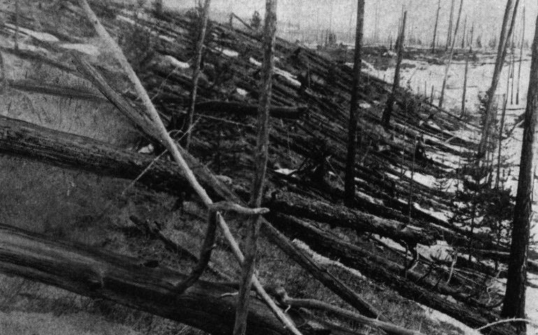 A photo from the Leonid Kulik expedition to the Tunguska region of Russia in 1929. A meteorite or comet knocked down millions of trees in one of the largest space-object-meets-Earth events in recorded history. Credit: Leonid Kulik Expedition, St. Petersburg Museum.