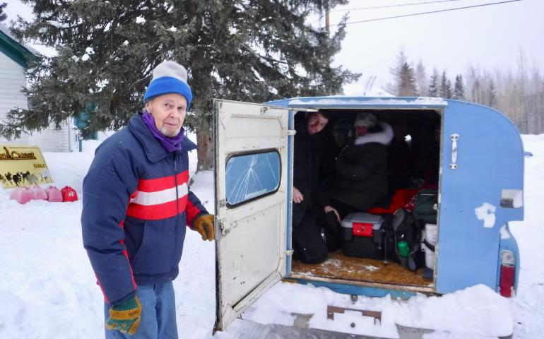 John Borg of Eagle gets ready to transport officials for the Yukon Quest sled dog race to the airstrip in Eagle in his Chevy C-10. Ned Rozell photo.