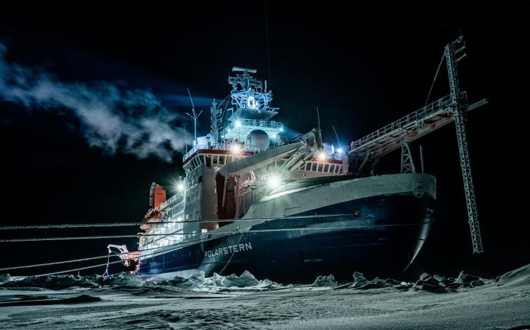 The RV Polarstern, which is drifting on the Arctic Ocean for one year and hosting many scientific experiments. The icebreaker is owned by the Alfred Wegener Institute of Bremerhaven, Germany, and will house more than 600 scientists from more than 20 countries. Photo by Lukas Piotrowski, AWI.