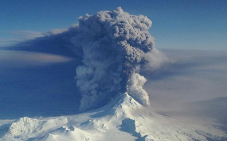 Pavlof Volcano on the Alaska Peninsula erupts in March 2016. Photo taken from a Coast Guard HC-130H based in Kodiak and commanded by Lt. Commander Nahshon Almandmoss.