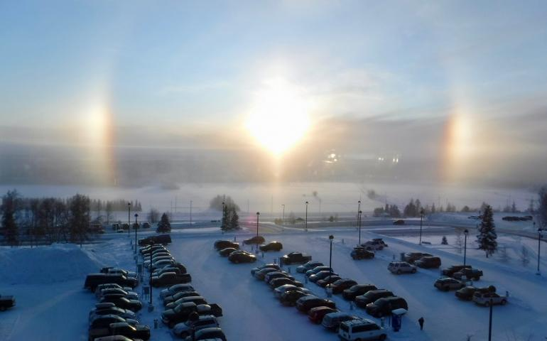 Sundogs seen from the University of Alaska Fairbanks campus on January 23, 2020. Photo by Ned Rozell.