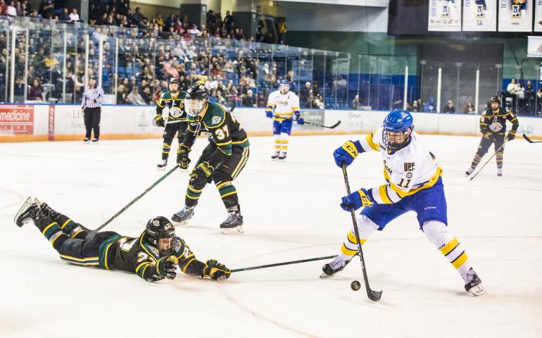 University of Alaska Fairbanks hockey team forward Steven Jandric in action against the UAA Seawolves. Photo by JR Ancheta, UAF Photography.