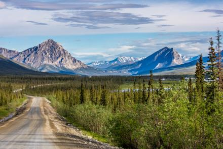 Peaks of the southern Brooks Range along a stretch of the Dalton Highway, about 250 miles north of Fairbanks. UAF Photo by Todd Paris.