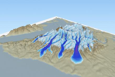A rendering of ice in the Olympic Mountains, Washington made with the Parallel Ice Sheet Model. The model is a valuable tool for scientists to simulate ice behavior and has been used in 100 publications as of May 2019. Image by Andy Aschwanden.