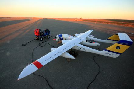An unmanned aerial vehicle at Oliktok Point, Alaska used to map Arctic sea ice in 2018. Oliktok Point is the proposed site for a permanent High Arctic research center, discussed at a NSF-funded workshop on the UAF campus in October. Photo by ACUASI.
