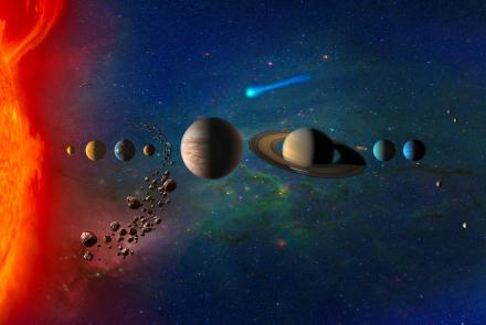 Artist concept of the solar system. Image by NASA