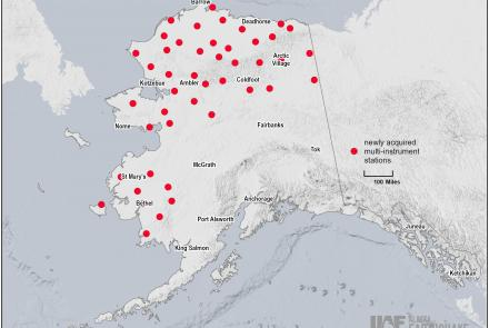 The red dots show locations of 45 USArray stations which greatly increase the ability to track earthquakes, permafrost changes, sea ice extent, aurora events and the weather across western and northern Alaska. Map courtesy of AEC.