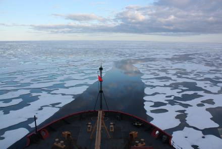 The U.S. Coast Guard Cutter Healy travels in the Beaufort Sea, north of Alaska, in this July 2011 photograph. The Beaufort Sea is one area of emissions research by atmospheric sciences professor Nicole Mölders. Credit: NASA/Kathryn Hansen