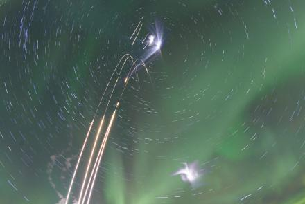 A composite image of four rockets launched from the Poker Flat Research Range in January 2015. Each image is a 30-second exposure. NASA image by Jamie Adkins.