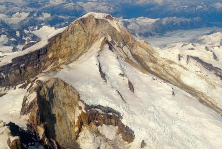The glaciers and rock of 10,015-foot Iliamna Volcano. Photo by Matt Loewen, Alaska Volcano Observatory.