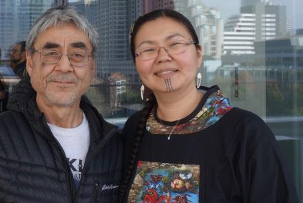 Jerry Ivanoff, from Unalakleet, and Mellisa Johnson of Anchorage and Nome, outside the Moscone Center in downtown San Francisco. They traveled to the Fall Meeting of the American Geophysical Union at the invite of scientists who wrote the 2019 Arctic Report Card. Photo by Ned Rozell.