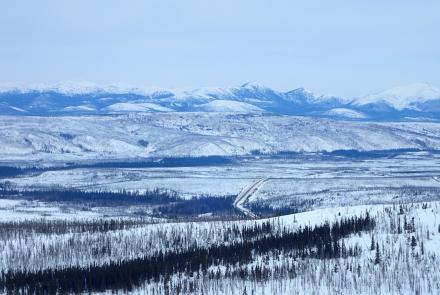 The valleys of Jim River and Prospect Creek in northern Alaska, where an official thermometer registered Alaska's all-time low of minus 80 degrees F on Jan. 23, 1971. Photo by Ned Rozell.
