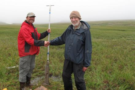 Rich Kleinleder and David Klein on St. Matthew Island in August, 2012, after they pulled a core of sediment from the island. Ned Rozell photo.