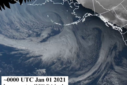 An image of the New Year's superstorm in the North Pacific Ocean and Bering Sea. Image courtesy National Weather Service Fairbanks Office.