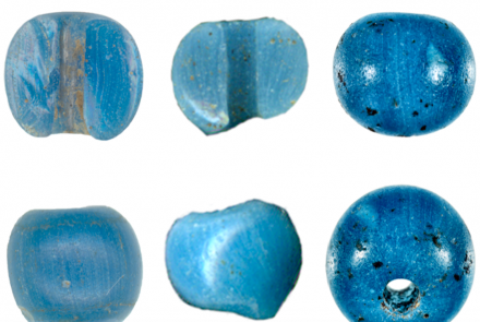 "Glass beads made in Venice that archeologists found in northern Alaska. From the January 2021 paper ""A Precolumbian Presence of Venetian Glass Trade Beads in Arctic Alaska,"" in the journal American Antiquity, by Michael Kunz and Robin Mills."
