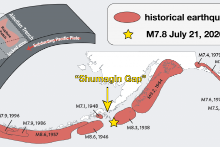 "All the large recent earthquakes on the Aleutian Subduction Zone, including the magnitude 7.8 in the ""Shumagin Gap"" that occurred July 21, 2020. Graphic courtesy Alaska Earthquake Center."